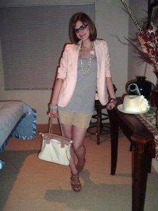 Pink-Blazer-Lavender-Tunic-Taupe-Shorts